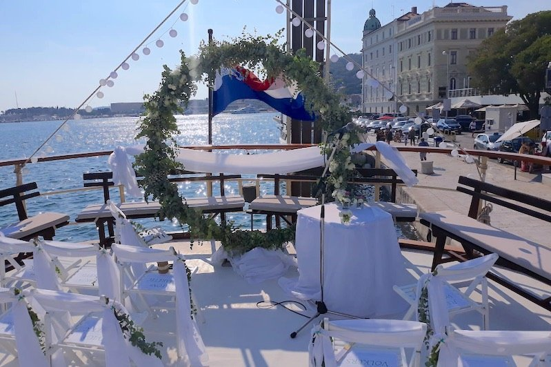 Wedding Decoration on boat in Split Croatia